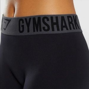 Gymshark black leggings with gray logo waistband S